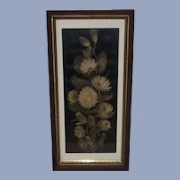 Victorian Water Lilies Yard Long Print  Deep Walnut Frame