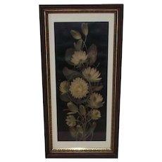 Victorian Water Lilies Yard Long Print  Deep Walnut Frame
