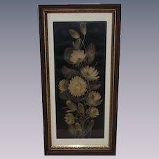 Vintage Yard Long Water Lilies Print in Deep Walnut Frame