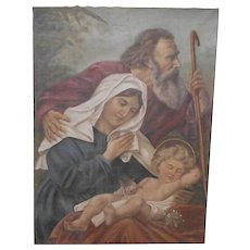 Holy Family Oil Painting on Canvas Circa 1880s - 1900