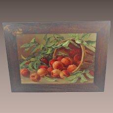 Vintage Peaches Print Framed with Peaches Painted on Frame