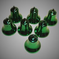 Vintage Mid Century Green Christmas Bell Ornaments 1960s Hard Plastic