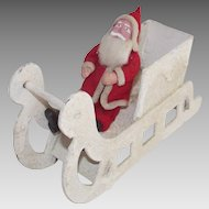 Vintage Clay Face Santa in Mica Covered Sleigh Mid - Century Japanese