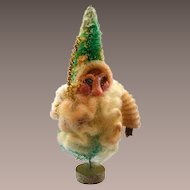 Vintage Chenille Santa with Clay Face on a Bottle Brush Christmas Tree