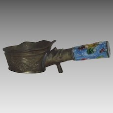 Antique Vintage Brass Chinese Silk Iron Coal Carrier