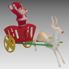 Vintage Hard Plastic Santa in Cart with Reindeer Candy Container E. Rosen 1950s