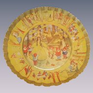 Vintage Snow White and the Seven Dwarfs German Pressed Fluted Paper Bowl from the 1930s