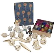 Mid Century Collection of Feather Tree Ornaments Chalkware Figurines and Jingle Bells