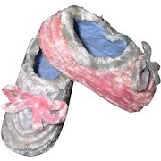 Vintage French Candy Container Baby Shoes Paper Mache and Chenille