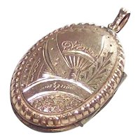 Antique  Aesthetic Movement Era Locket with a Fan, Rose and Forget me Not 14 Kt Gold Fill