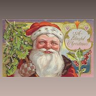 Vintage St Nicholas style Santa Claus Post Card w Blue & Gold Checkered Mittens