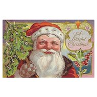 Vintage St Nicholas style Santa Claus Post Card w Blue & Gold Checkered Mittens