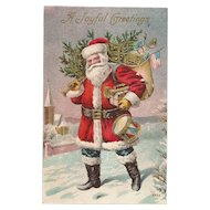 Vintage Santa with American Flag and Red White and Blue Toy Drum Embossed Post Card Nash Style