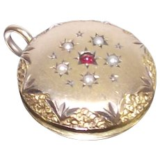 Victorian Round Fob with Seed Pearls and Garnet