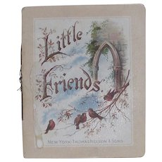 "Victorian German Tiny Book ""Little Friends"" Birds and Children"