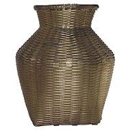 Vintage Spun Brass Vase  Basket Style Weaving