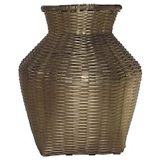 Vintage Spun Brass Vase  Basket Style Weaving - Red Tag Sale Item