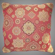 Vintage  Down Pillow Red and Gold Fabric