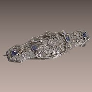 Ceylon Sapphire and Diamond Brooch in 14k White Gold Art Deco Era