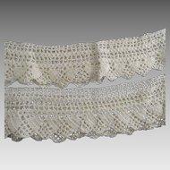 Vintage  Handmade Crotchet Pillow Case Trims Pair