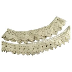 Vintage Handmade Crotchet Pillow Case Trims Two Pieces