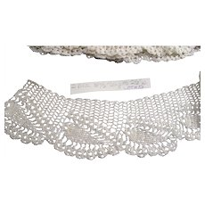 Vintage Handmade Crotchet Pillow Case Trims Pair