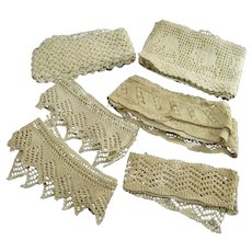 Vintage Lot of Hand Made Lace and Trims Yardage