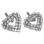 Vintage Heart Shaped Pierced Earrings White Metal Clear Rhinestones