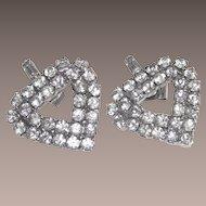 Vintage Heart Shaped Pierced Earrings White Metal Clear Rhinestones
