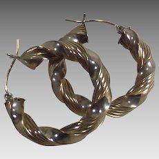 14Kt Two Tone Gold Hoop Twisted Earrings