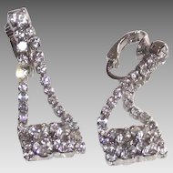 Vintage Purse Shaped Clip Style Earrings White Metal Clear Rhinestones