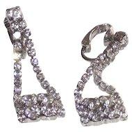Vintage Purse Shaped Clip Style Earrings White Metal Clear Rhinestones