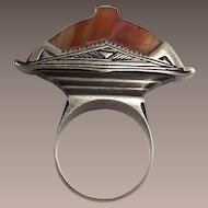 West African Tuareg Ring Silver and Banded Carnelian