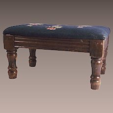 Vintage Foot Stool with Needlepoint Cover Blue with Pink and Light Blue Flowers
