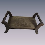 Vintage Victorian Foot Stool With Old Cut Velvet Top
