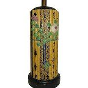 Majolica Bamboo Pattern Table Lamp Fantastic and Tall
