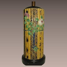 Majolica Bamboo Pattern Table Lamp Fantastic and Tall
