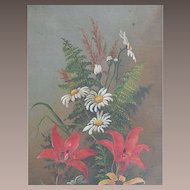 Framed Oil on Canvas Mixed Bouquet Flowers and Ferns Victorian