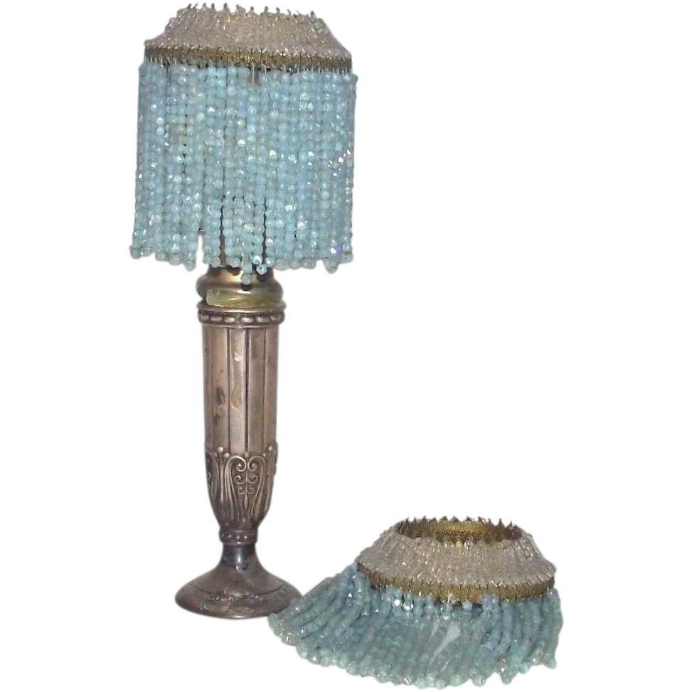 Pair matching glass beaded lamp shades blue and clear candle stick pair matching glass beaded lamp shades blue and clear candle stick bonnie boswell antiques ruby lane aloadofball Images
