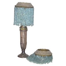 Pair Matching Glass Beaded Lamp Shades Blue and Clear Candle Stick Shades