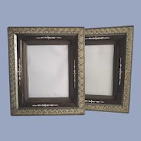Antique Mid 19th Century Walnut Frames with Sponge Decoration Matched Pair