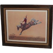 Vintage Rodeo Saddle Bronc Rider John McBeth Autorgaphed Framed Print 1974 World Champion