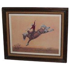 Vintage Rodeo Saddle Bronc Rider John McBeth Autographed Framed Print 1974 World Champion
