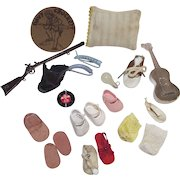 Mixed Lot of Doll Items including a Number of Single Shoes