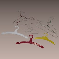 Vintage Six Doll Wire Coat hangers and Three Plastic Hangers