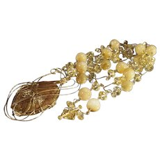 Gold Wire Work Tan Agate and Citrine Necklace  Handmade