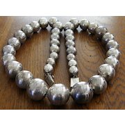Vintage Taxco Sterling Silver Graduated Necklace Large Beads