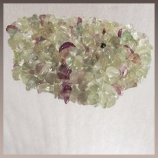 Vintage Tumbled Green Prasiolite and Purple Amethyst Necklace