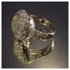 Vintage Green Mother of Pearl and Clear Cz's Sterling Ring