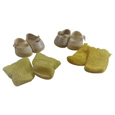Vintage Vogue Ginny Doll White Shoes and Yellow Socks Two Sets